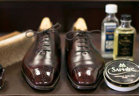 leather shoes shining with mineral oil