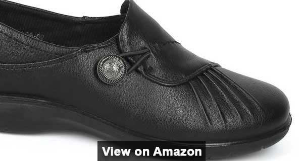Alrisco Leatherette Pleated Elevated Working Shoe