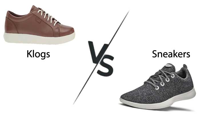 Difference  of klogs and sneakers