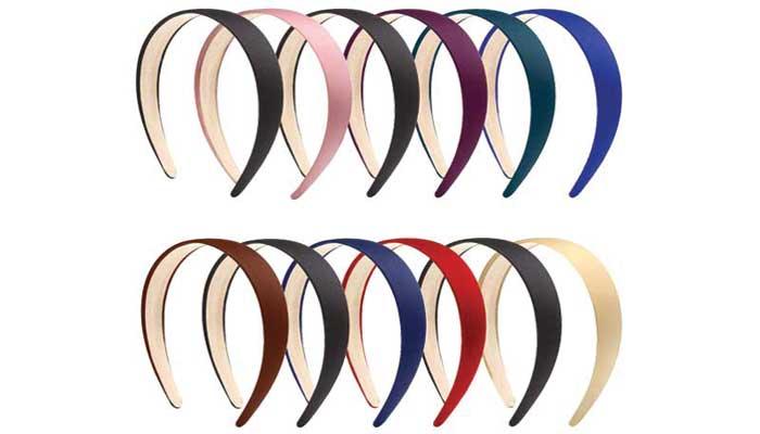 Elcoho 12 Pieces Satin Headbands