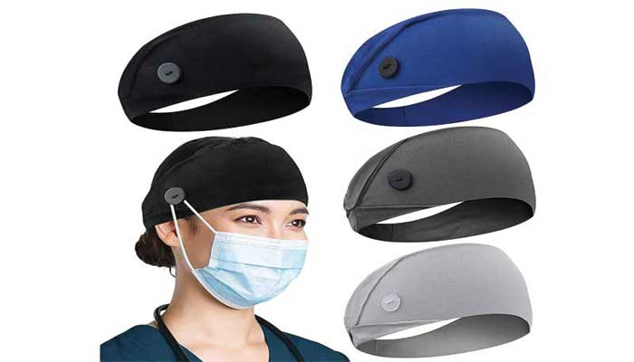 Americana Non Slip Headbands with Button for Mask