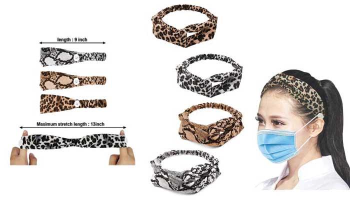 OKAICEN 4 Pack Leopard Print Elastic Cross Buttons Headbands
