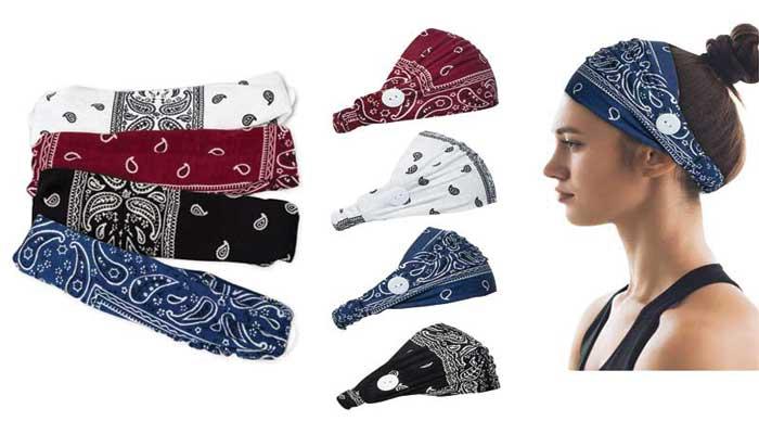 Paisley Bandana Headbands for Women, Nurses